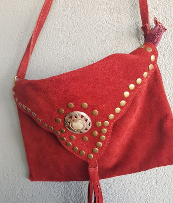 Suede Boho Bag Dark Red