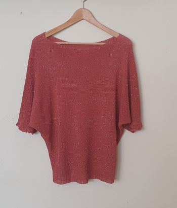 Boho top gold red